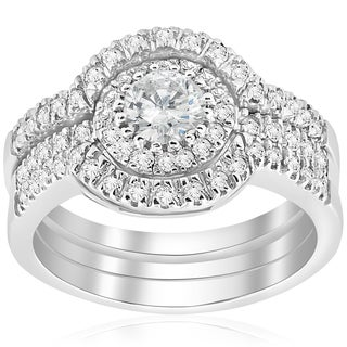 14k White Gold 2 ct TDW Halo Diamond Engagement Clarity Enhanced Trio Wedding Ring Set (H-I I1-I2)