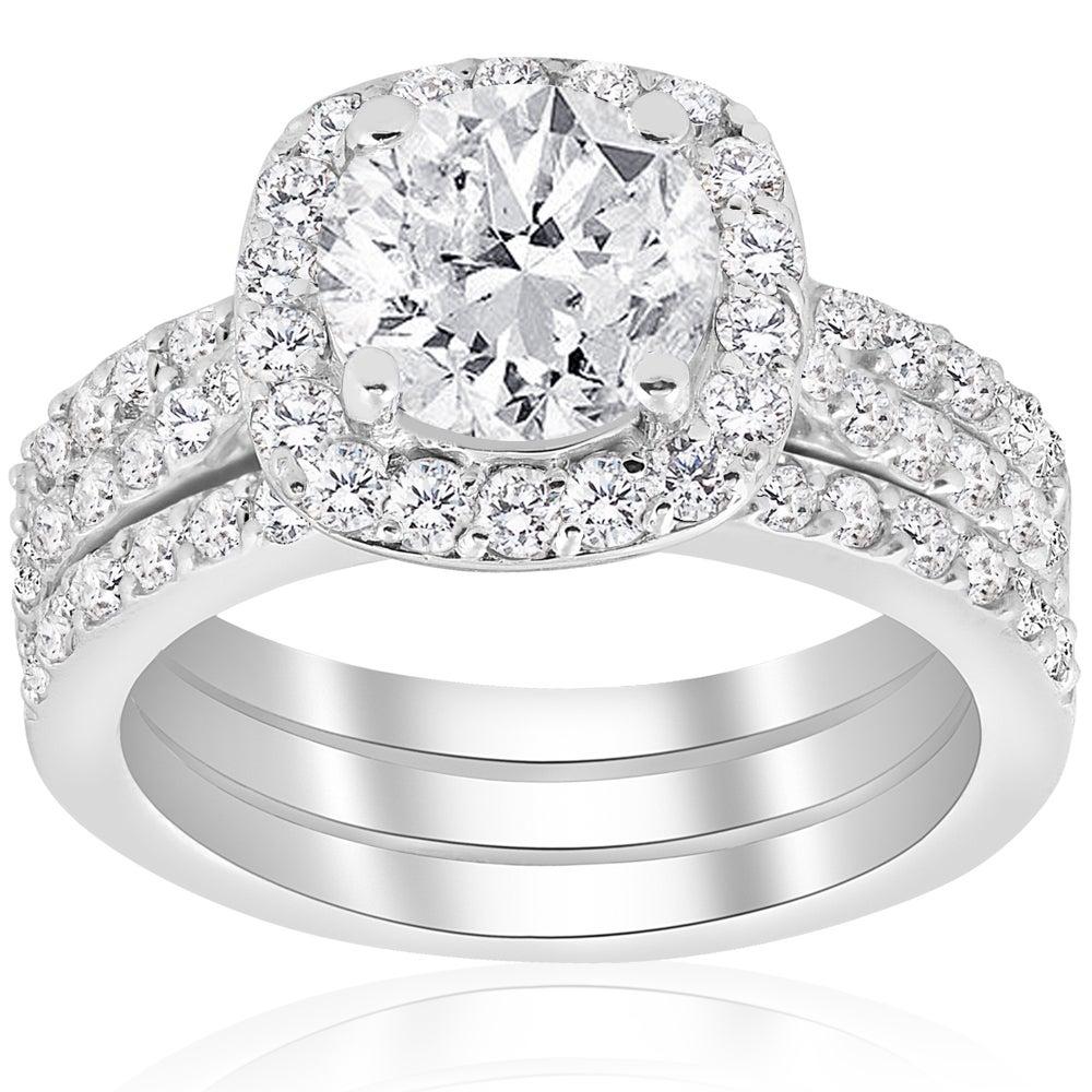 14k White Gold 2 3 4 Ct Tdw Cushion Halo Diamond Engagement Clarity Enhanced Trio Wedding Ring Set White H I White H I On Sale Overstock 14607088