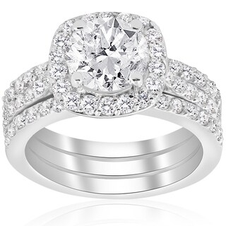 14k White Gold 2 3/4 ct TDW Cushion Halo Diamond Engagement Clarity Enhanced Trio Wedding Ring Set (H-I I1-I2)