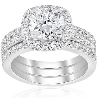 14k White Gold 2 3/4 ct TDW Cushion Halo Diamond Engagement Clarity Enhanced Trio Wedding Ring Set