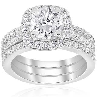 14k White Gold 2 3 4 Ct Tdw Cushion Halo Diamond Engagement Clarity Enhanced Trio
