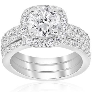 Attrayant 14k White Gold 2 3/4 Ct TDW Cushion Halo Diamond Engagement Clarity  Enhanced Trio
