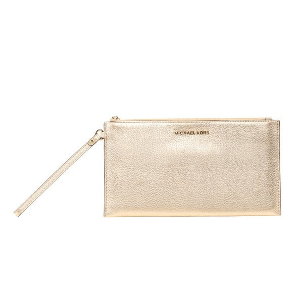 aa68469e1d4 Shop Michael Kors Bedford Large Pale Gold Zip Clutch - Free Shipping ...