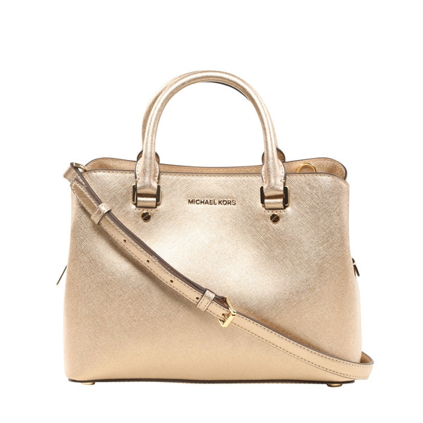 a5837455ec55 Shop Michael Kors Savannah Medium Pale Gold Satchel Handbag - Free ...
