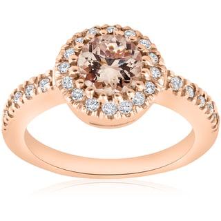 14k Rose Gold 1 ct TW Morganite & Diamond  Halo Engagement Ring (I-J,I2-I3)