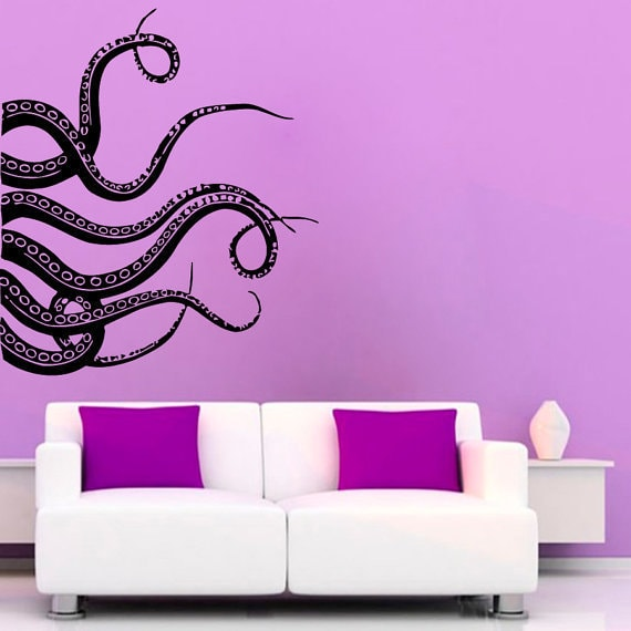 Octopus Tentacles Stickers Bathroom Wall Decor Sea Animals Home Vinyl Sticker Nursery Room Sticker Decal Size 44x44 Color Black Overstock 14608883