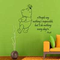 Winnie The Pooh Quotes Children Vinyl Sticker Wall Decor Home Decor Vinyl Art Nursery Room Sticker Decal size 22x22 Color Black