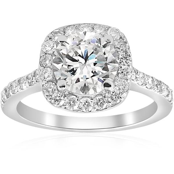 14k White Gold 2 ct TDW Diamond Cushion Halo Clarity Enhanced Engagement Ring