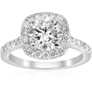 14k White Gold 2 ct TDW Diamond Cushion Halo Clarity Enhanced Engagement Ring
