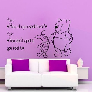 Winnie The Pooh Wall Quotes Children Wall Decor Home Art Girl Boy Nursery Room Decor Sticker Decal size 48x65 Color Black