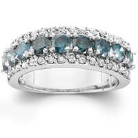 14k White Gold 1 1/2 ct TDW Blue & White Diamond Wedding Ring This women's Anniversary Stackable Band (I-J,I2-I3)