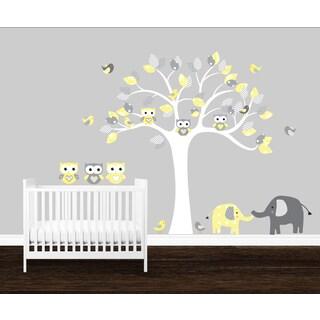 Cute Chevron Pattern Vinyl Owl wall decal, Nursery tree with elephants and birds, Nursery Owls