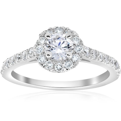 14k White Gold 3/4 ct TDW Halo Diamond Split Engagement Ring