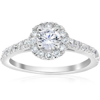 14k white gold 34 ct tdw halo diamond split engagement ring - Wedding Band For Halo Ring