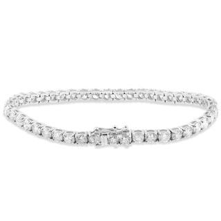 18k White Gold 9 1/2 ct TDW Diamond Tennis Bracelet