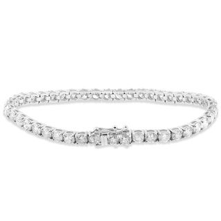18k White Gold 9 1/2 ct TDW Diamond Tennis Bracelet