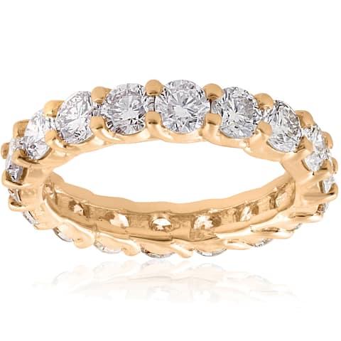 14k Yellow Gold 3 CT TDW Diamond U Prong Eternity Wedding Ring - White