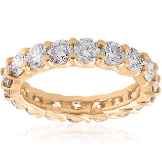14k Yellow Gold 3 CT TDW Diamond U Prong Eternity Wedding Ring