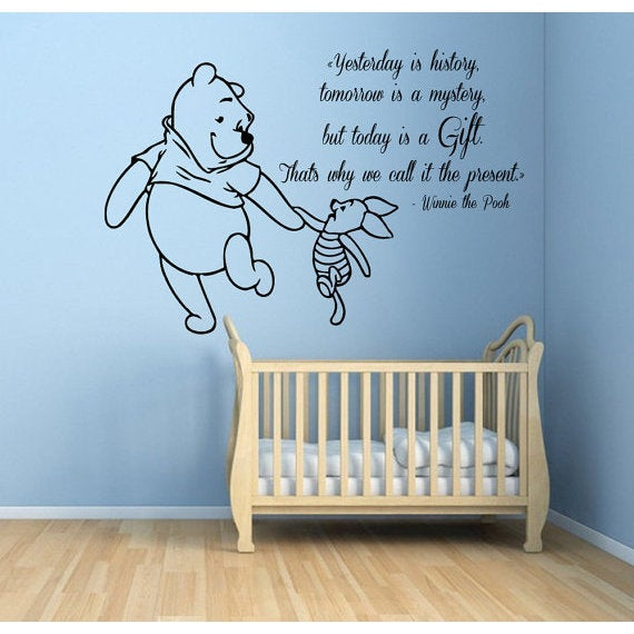 Winnie The Pooh Quotes Children Kids Art Mural Girl Boy Nursery Room Bedding Decor Sticker Decal Size 48x57 Color Black