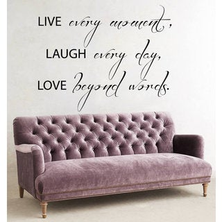 Quote Live Every Moment Laugh Every Day Love Beyond Words Vinyl Sticker Interior Art Murals Sticker