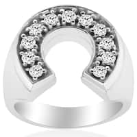 14k White Gold 3/4 ct TDW Diamond Mens Lucky Horsehow Wedding Anniversary Ring