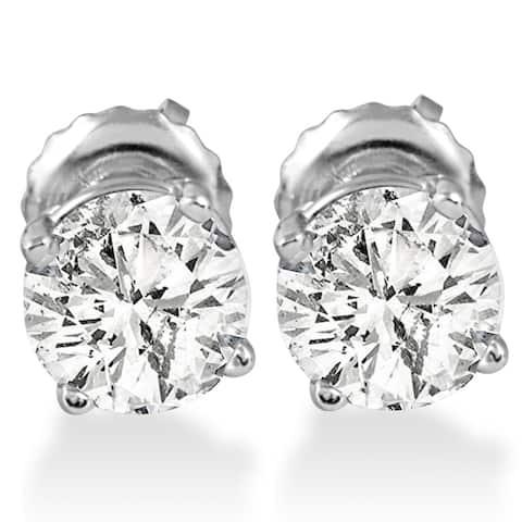14k White Gold 1 ct TDW Diamond Screw Back Studs
