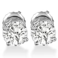 14k White Gold 1ct TDW Diamond Screw Back Studs