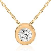 14k Yellow Gold 5/8ct TDW Diamond Solitaire Bezel Pendant - White