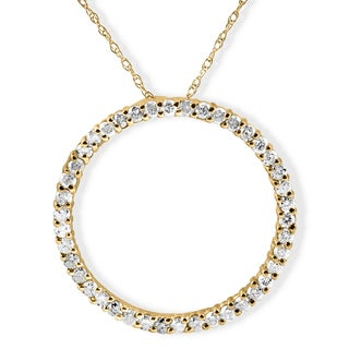 14k Yellow Gold 1 ct TDW Diamond Circle Pendant