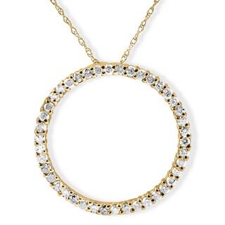 14k Yellow Gold 1 ct TDW Diamond Circle Pendant - White