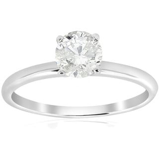 14k White Gold 5/8 ct TDW Diamond Solitaire Engagement Ring (I-J,I2-I3)