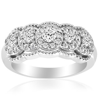 14k White Gold 1 ct TDW Diamond Wide Halo Wedding Anniversary Womens Stackable Ring