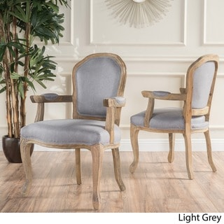Paxton Fabric Dining Arm Chair (Set of 2) by Christopher Knight Home (light grey / natural - Fabric - Natural Finish - Accent Chairs -