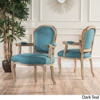 Paxton Fabric Dining Arm Chair (Set of 2) by Christopher Knight Home (teal / natural - Polyester - Natural Finish - Arm Chairs/Side Chairs -