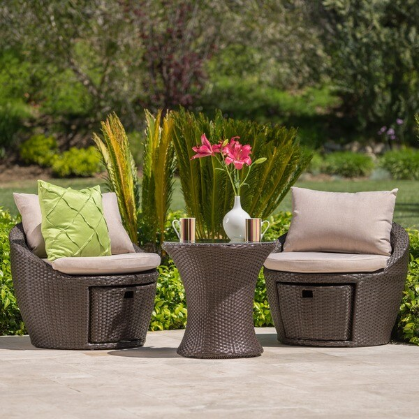 Porto Fino Outdoor 3-piece Wicker Bistro Chat Set with Cushions and Storage by Christopher Knight Home