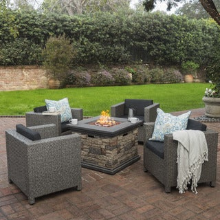 Puerta Outdoor 4-piece Wicker Chair Set with Square Stone Firepit by Christopher Knight Home (2 options available)
