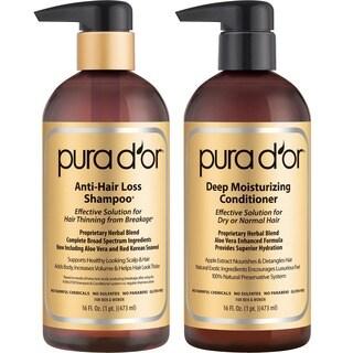 PURA Gold Label Anti-Hair Loss 16-ounce Shampoo & Deep Moisturizing Conditioner Set