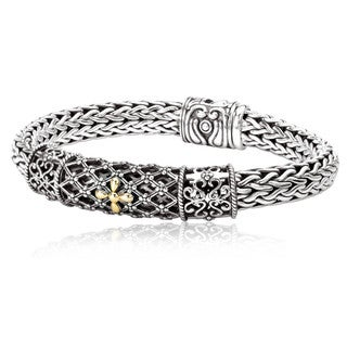 Avanti Sterling Silver And 18k Yellow Gold Filigree Design Bracelet (7.5 inch)