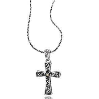 Avanti Sterling Silver and 18k Yellow Gold Scroll Design Oxidized Cross Pendant Necklace