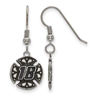 "LogoArt Engraved ""#18"" Nascar Stainless Steel Drop Earrings"