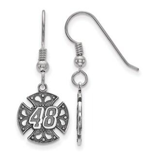 """LogoArt Sterling Silver Nascar """"#48"""" Drop Earrings"""