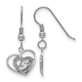 """LogoArt Sterling Silver Nascar """"#5"""" Heart Design Drop Earrings"""
