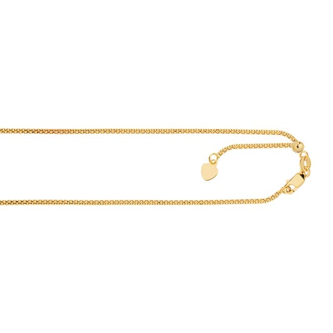 Luxurman 14k Solid Gold 1.3mm Wide Adjustable Popcorn Chain 22-inch Necklace With Lobster Clasp and Heart Charm