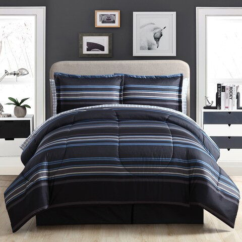Carbon Loft Euclid Stripe Black and Blue Bed in a Bag Set