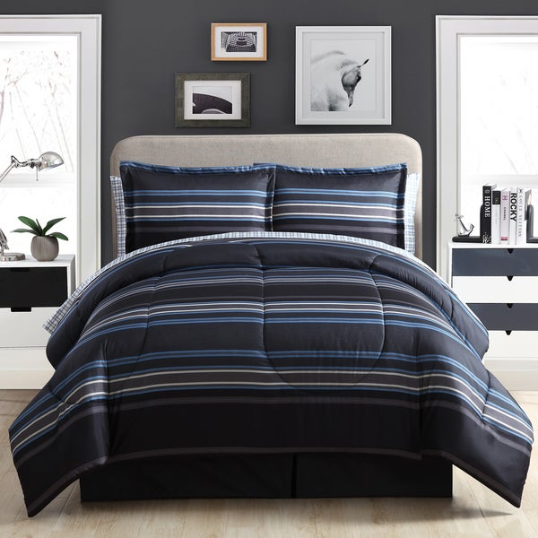 8f09a359cb1 Shop Carbon Loft Euclid Stripe Black and Blue Bed in a Bag Set ...