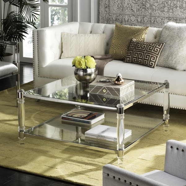 "SAFAVIEH Couture High Line Collection Isabelle Acrylic Silver Coffee Table - 38.5"" W x 38.5"" L x 17.7"" H. Opens flyout."
