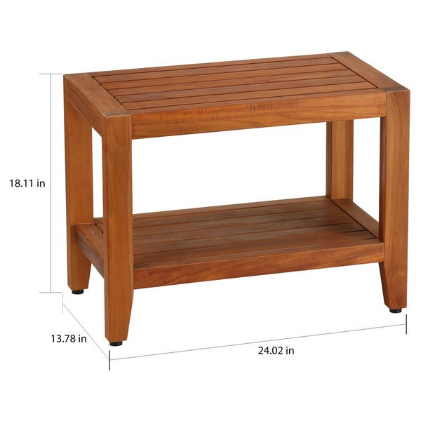 Peachy Bare Decor Teak Wood Serenity Spa 24 Inch Bench With Shelf Alphanode Cool Chair Designs And Ideas Alphanodeonline