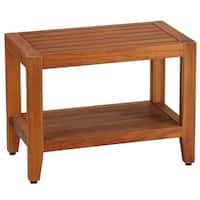 Bare Decor Teak Wood Serenity Spa 24-inch Bench with Shelf