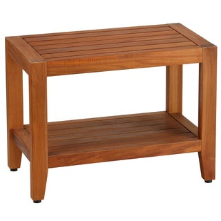 Awesome Bare Decor Teak Wood Serenity Spa 24 Inch Bench With Shelf