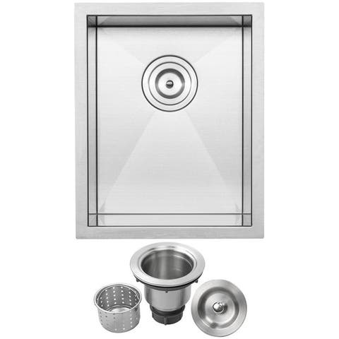 "14"" Ticor S3620 Pacific Series 16-Gauge Stainless Steel Undermount Single Basin Zero Radius Kitchen and Bar Sink"